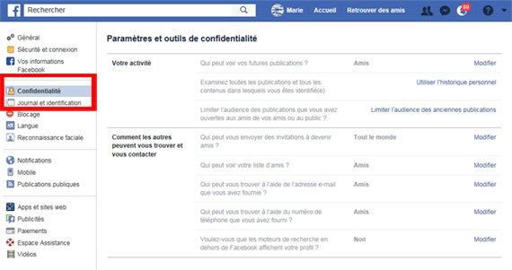 se protéger sur facebook